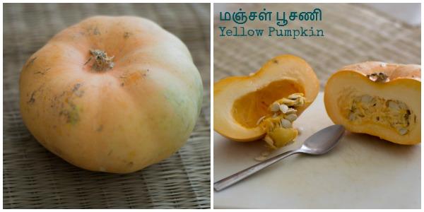 Tamilnadu style pumpkin sambar manjal poosanikai sambar thuvaram paruppu sambar  kannammacooks.com #tamilnadu #sambar #pumpkin #lentils #recipe