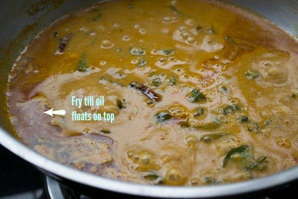 Vendakkai-puli-kozhambu-kulambu-okra-tamarind-curry-south-indian-style-oil-floats-on-top  kannammacooks.com #ladies-finger #okra #puli-kulambu #vendakkai #curry #vegan-recipe