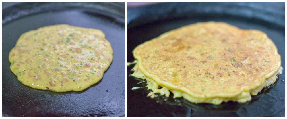 Glutenfree-vegan-besan-tomato-omelette-indian-breakfast-recipe-cook |kannammacooks.com #glutenfree #vegan #omelette #indian #chickpea #flour #pancake #yummy #breakfast #fluffy #recipe #indian