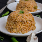 South-Indian-Tamilnadu-style-Spicy-Mushroom-biriyani-Kalan-masala-biryani-recipe-plated