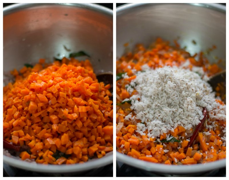South-indian-style-tamil-carrot-poriyal-recipe-coconut