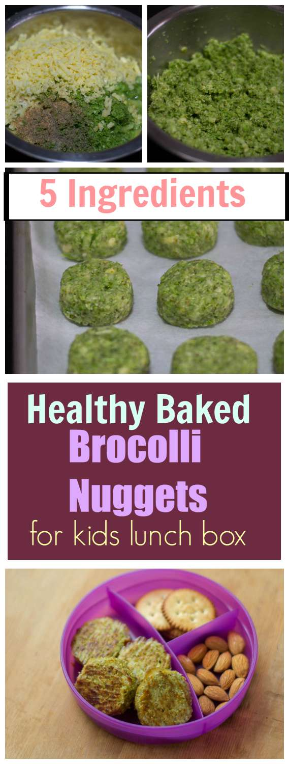 Healthy Brocolli Nuggets for kids lunch box. Baked Veggie Nuggets. Make kids eat more #Veggies. #easy #quick #5ingredients