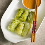 Cabbage Rolls, Steamed Cabbage Rolls with spicy Peanut Sauce