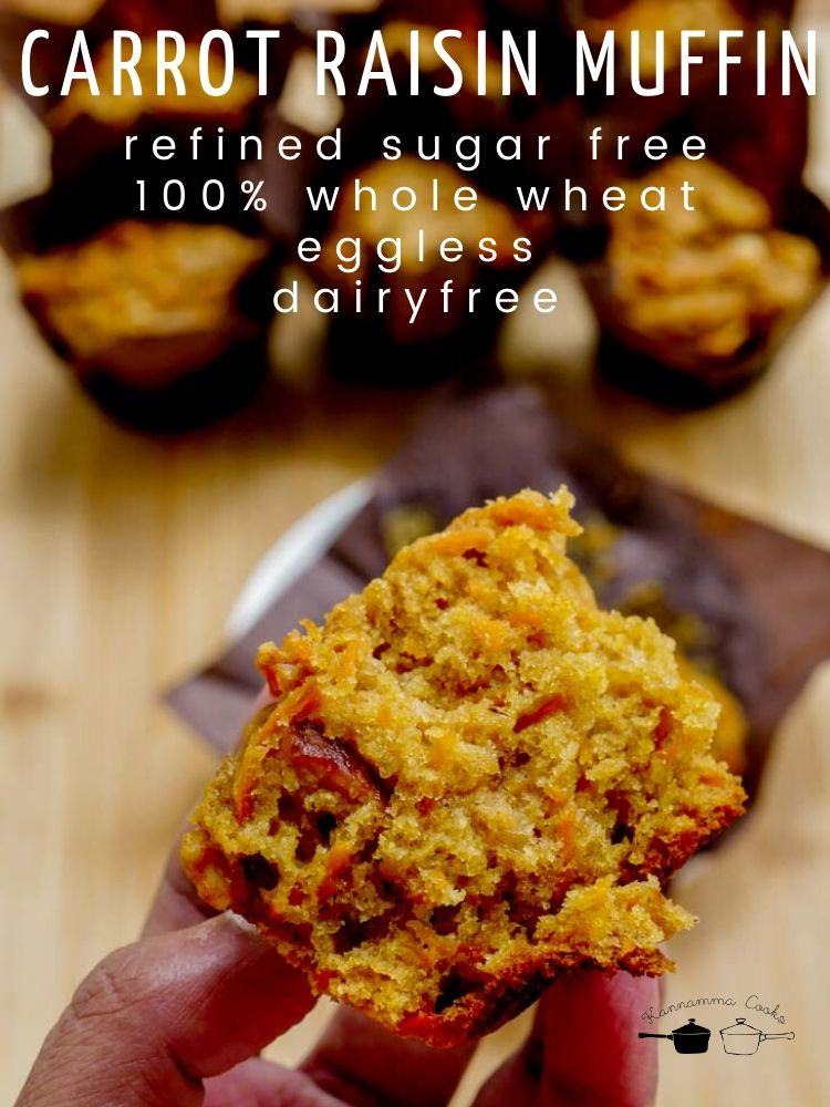 carrot-raisin-muffin-vegan-eggless-dairyfree-refined-sugar-free