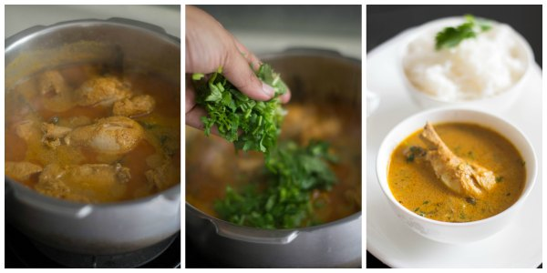 chicken-kurma-pressure-cooker-coriander-leaves