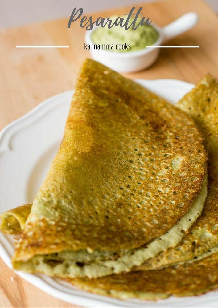 Pesarattu Recipe, Green Moong Dal Dosa / Crepe