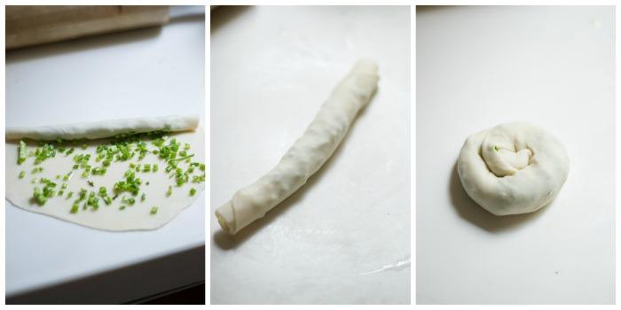 scallion pancakes-scallion-roll