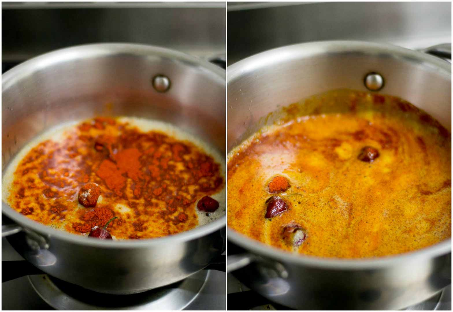 74e2d1ea5739 Add in the red chilli powder to the hot oil. Let the powder fry briefly for  a few seconds. Do not fry for long as the powder may burn.